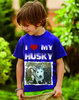 """I LOVE MY HUSKY""  Kinder T-Shirt mit Foto"