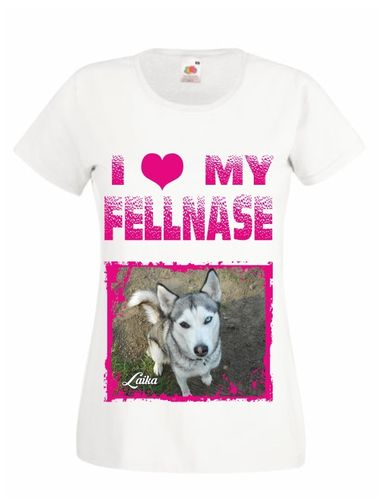 """I Love my Fellnase ""  Damenshirt V-Neck mit Foto"
