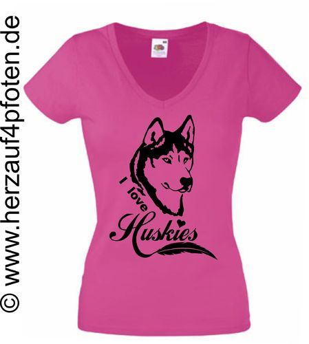 T-Shirts Lady - I love Huskies
