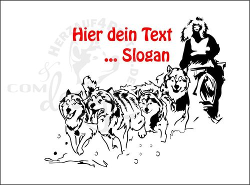 Wandtattoo-Musher Huskygespann 4er-Dein Text