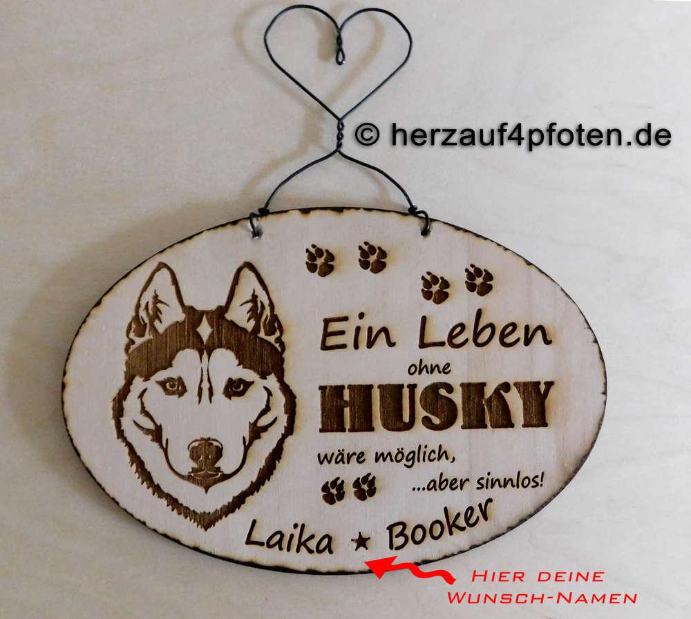 "holz branding- bild ""ohne husky"" dein wunschname"