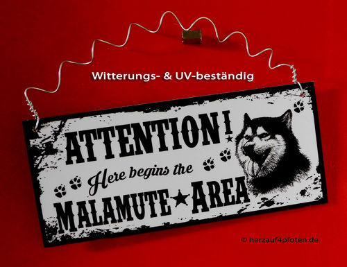 Attention Mala Area | Zaunschild | witterungsbeständig
